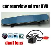 Nuevo coche DVR espejo de Revisión 2 lente dual cámara grabadora de vídeo Digital Auto registrador videocámara Full HD 4,3 pulgadas caliente venta