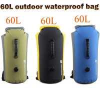 LUCKSTONE 60L PVC al aire libre bolsas de rafting natación impermeable mochila inflable canoa Camping Drifting Kayaking buceo bolsa seca