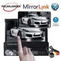 1 Din coche mp4 mp5 jugador estéreo video de Audio de coche Radio 7 HD pantalla retráctil táctil espejo enlace radio de coche reproductor de cassette