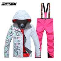 GSOU SNOW de las mujeres de doble tablero de esquí traje de esquí al aire libre grueso cálido deporte transpirable impermeable chaqueta de esquí pantalones de esquí tamaño XS-L
