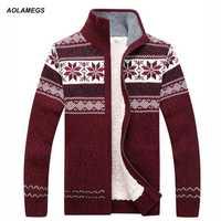 Aolamegs hombres suéter moda Otoño Invierno lana Cardigan hombres Casual grueso cálido suéter Masculino 2017 suéter de punto Hombre M-3XL