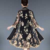 Mujeres de mediana edad elegante Vintage Floral bordado vestido de 2 unidades vestidos de fiesta Casual Bodycon más tamaño 5XL vestido