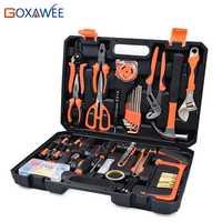 GOXAWEE casa reparación herramientas destornillador Bits conjunto alicates tomas llave VI martillo hogar Kits de herramienta de mano Caja de Herramientas