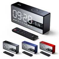 Nueva llegada caliente tiempo Portable Display reloj despertador Radio FM TF Tarjeta de apoyo Bluetooth altavoz incorporado 4000 mAh batería
