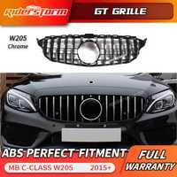 Pour W205 GT AMG GTR Grille Avant GT R Grill pour Mercedes Benz W205 c200 c250 c300 2015 + Grille 2019 + 2019 avant grille