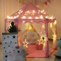 Pequeña princesa Castillo Rosa carpa niños interior plegable casa de juegos plegable tienda de campaña para niños pelotas para piscina
