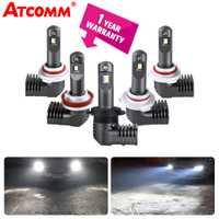 ATcomm LED H11 H8 H9 niebla lámparas para coche 12 V 6000 K 10000Lm 24 V/9005/HB3 9006 /HB4 9012/Hir2 automóviles luces de niebla Super blanco