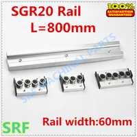 Maquinaria de trabajo de madera perfil de aluminio construido en doble eje guía lineal SGR20 roller slide rail L = 800mm + 1 piezas SGR20 rueda bloque
