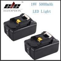 2x18 V 5000 mAh li-ion herramientas eléctricas batería de repuesto para Makita BL1815 BL1850 BL1840 BL1830 batteria recargable con luz LED