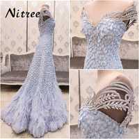 Azul musulmán pluma sirena vestidos de noche africano Dubai turco Formal vestidos de fiesta para bodas Abendkleider vestidos de caftán