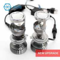 2 pcs H4 LED salut-lo mini objectif du projecteur phare pour voiture faisceau clair motif 12 v 6000 k aucun astigmate problème garantie à vie