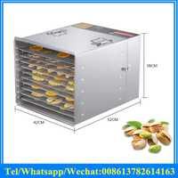 Acero inoxidable de la fruta de frutas deshidratador secadora/deshidratador de alimentos máquina de 10 bandejas