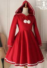 Rojo encantador caliente del invierno lindo Lolita abrigo invierno largo Abrigos todo el tamaño con capucha