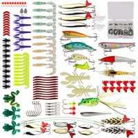 Goture 175 piezas Kit señuelo Minnow/Popper/Crankbait/lápiz/VIB/Spinner Metal cuchara señuelo suave pesca señuelo conjunto con caja