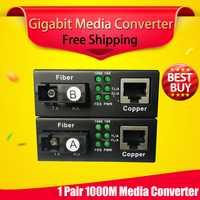 Envío libre 1 par Gigabit RJ45 fibra óptica para UTP convertidor de medios 1310/1550 fibra a Ethernet fibra interruptor