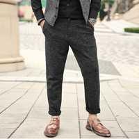 Hombres otoño nuevo Casual Slim lana espesa pantalones Hombres estilo europeo de elasticed cintura Zipper Fly Pantalones k857