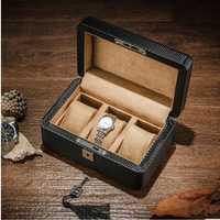 Fibra de carbono de lujo corteza + madera 3 Red caja de reloj de almacenamiento cajones organizador Caja con cerradura MSBH013