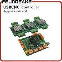 4 eje de USBCNC controlador con 3 ejes conductor CNCUSB placa de interfaz mejora de la Junta de Control de la máquina CNC junta de Control con el programa