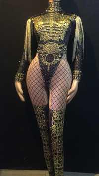 Oro flecos Charretera de las mujeres mono baile de Jazz desnudo elástico traje de mono noche mostrar una-pieza Sexy traje de desgaste