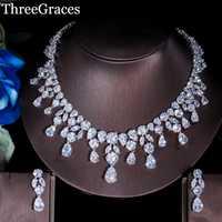 ThreeGraces lujoso oro blanco Color Cubic Zirconia cristal grande gota de agua de compromiso de boda de conjuntos de joyas para mujeres JS103