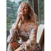 Moda primavera y verano mujeres vestido largo bohemio Bayou shirred floral-impresión de seda-crepon maxi vestido