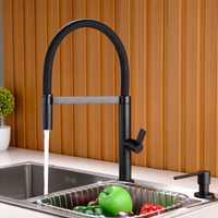 Latón grifo de la cocina saque abajo lavabo grifo mezclador giratorio 360 caño de agua fría y caliente Torneira negro mate blanco cromo