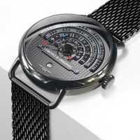 TOMORO Original de los hombres de moda única lectura. Reloj Casual de lujo hombre fecha cuarzo creativo regalo reloj con correa de malla