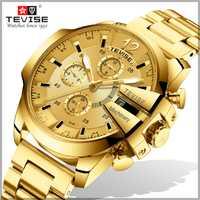 Reloj mecánico automático para hombre, relojes de marca Tevise de marca superior, reloj impermeable de esqueleto Tourbillon
