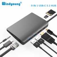 USB-C tipo C para Macbook USB C a HDMI Mini DP 4 K RJ45 Ethernet USB 3,0 de Audio de 3,5mm tipo C portátil de muelle de carga