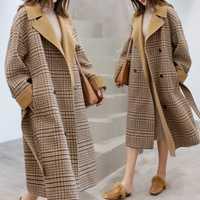 La nueva Europa estilo de invierno abrigo de lana de las mujeres de gran tamaño manga larga Hepburn otoño suelto largo abrigo de lana prendas de piel elegante, Casaco Feminino