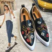 2019 mujeres pisos zapatillas slip on superficial de las mujeres ocasionales mocasines suave calzado planos de las mujeres zapatos de punta puntiaguda