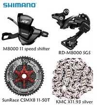 Shimano XT M8000 4 pcs de bicyclette de vélo vtt 11 vitesse kit Groupset RD-M8000 Shifter avec SunRace cassette K7 KMC chaîne 11-46 T 11-50 T
