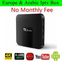 TX3 Android 7,1 caja de TV inteligente vida Europa libre francés Alemania América nos árabe IPTV 2300 canales de TV 500 VOD medios de comunicación