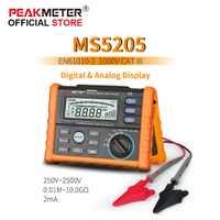 Medidor de PEAKMETER Digital y analógico de 2500 V MS5205 medidor de resistencia de aislamiento megger 0,01 ~ 100G Ohm con multímetro