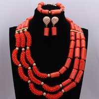 Moda original coral Cuentas joyería conjunto naranja rojo nigeriano conjunto de joyas para las mujeres cristales choker set para damas 2018