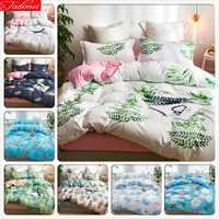 Funda de edredón con patrón de hojas verdes 3/4 piezas Juego de cama para niños adultos ropa de cama suave cómoda doble reina rey tamaño