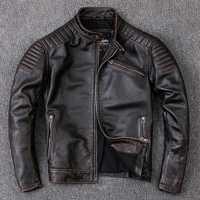 Livraison gratuite, tout nouveau vêtement en peau de vache, 100% vestes en cuir véritable pour homme, veste de motard à moteur vintage. manteau chaud et frais