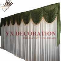 Cortina de telón de fondo de seda de hielo blanco y verde salvia con decoración de eventos de boda con borlas