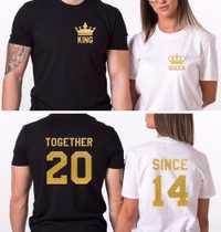2018 Marca de Ropa de Dos Piezas Para La Venta Rey Y Reina Camisa Juntos Desde Pareja T-Shirt Amor Juego de La Familia t-shirt