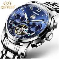 Relojes mecánicos automáticos KINYUED para hombre, reloj de pulsera de acero inoxidable, resistente al agua, reloj de pulsera para hombre, reloj de negocios, reloj automático