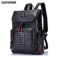 Mochila De Cuero genuino de cocodrilo para hombre, mochila de viaje para estudiantes de alta calidad para hombre, diseñadores de marca famosa, de alta calidad