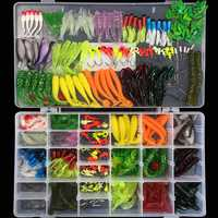 301 piezas Juego de señuelos unids suaves para pesca de mar señuelo de pesca cebo de silicona gusano blando Camarón carpa accesorios de pesca