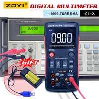 ZOYI ZT-X multímetro Digital botón ac dc voltímetro ohmmet verdadero rms multímetro auto de la gama de + 2 piezas batería recargable + cargador