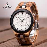BOBO pájaro reloj de los hombres de lujo elegante de Metal de madera cronógrafo automático fecha reloj de hombre 2018 Idae regalo C-hR22 Dropship