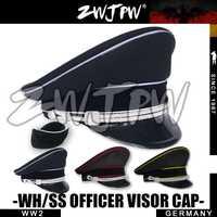 Gorra del ejército WW2 coleccionismo oficial negro gorros DE ala grande DE lana dos gorras insignia DE/401134 +