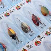 5 pack x (30 X Metal Spinners mixtos salmón Lucio señuelo cebos Bass trucha Fish Hooks