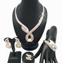 REAL oro 18 K para la boda de conjuntos de joyas de perlas africanas juego de Joyería Al por mayor de África conjuntos de joyas de collar de la mujer