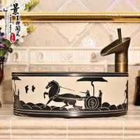 A1 cerámica pintada a mano lavabo del arte Cuenca del lavabo transporte directo LO613309