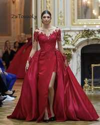 Vestidos de Noche de lujo vestidos de noche rojos de manga larga de satén elegante pavo vestido de noche en Dubái alto Slits pasarela vestidos sin espalda