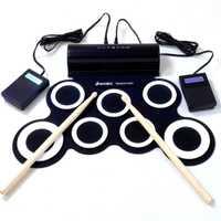 Portátil Roll Up Batería Electrónica con dos cuernos USB MIDI silicona tambor instrumento Musical para niños aprendizaje práctica